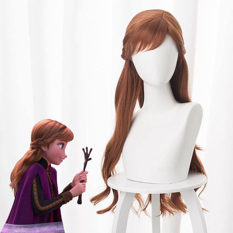 Anime Frozen 2 Princess Anna Brown Hair Wigs Headwear Wig Cosplay - SpiritCos