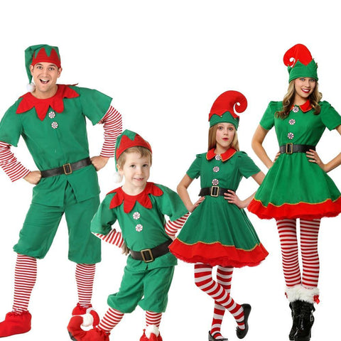 Christmas Outfit Girls Holiday Elf Costume Family Christmas Costume Parent Children Women Christmas Dress - SpiritCos