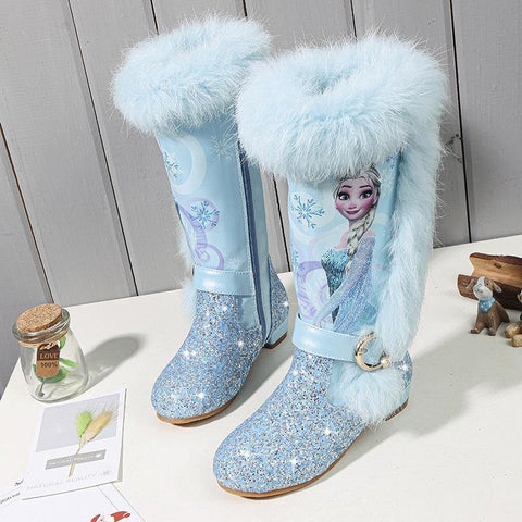 4-13 Years Old Children  Winter Botas Warm Long Boots Girls Low Heel Sequins Snow Boots Frozen Boots 2#11/03E50 - SpiritCos