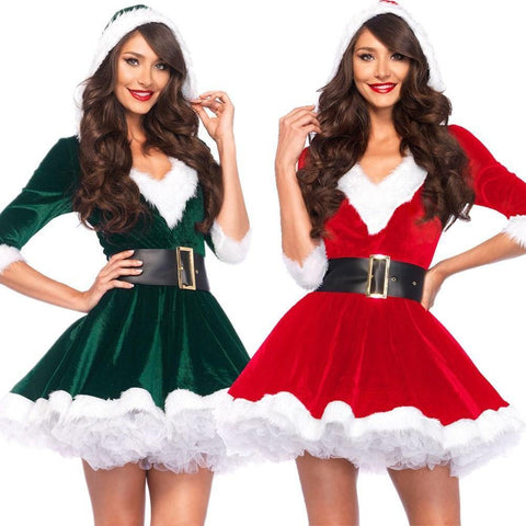 Adults Lady Women Slim Fit Hooded Sexy Velvet Christmas Suit Costumes Female Santa Claus Cosplay Xmas Party Fancy Dress - SpiritCos