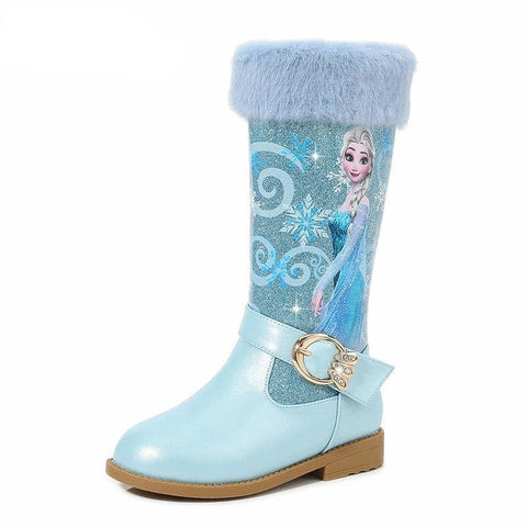 Elsa High Boots Girls High-Heeled Autumn And Winter Warm Children Sequins Snow Shoes Frozen Boots - SpiritCos