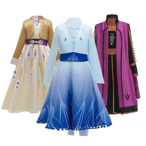 Frozen 2 Cosplay Queen Elsa Dresses Elsa Costumes Princess Anna Dress Girls Party Vestidos Fantasia Kids Girls Clothing Set - SpiritCos