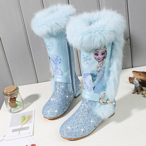 Princess Elsa Kids Girls Winter Pink Blue Wool Leather Boots Shoes - SpiritCos