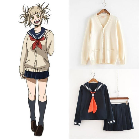 My Hero Academia Cosplay Costume Anime Cosplay Boku No Hero Academia Himiko Toga Jk Uniform Women Sailor Suits With Sweaters - SpiritCos