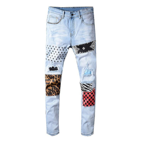 Sokotoo Men'S Stars Printed Leopard Patchwork Rivet Slim Jeans Light Blue Holes Ripped Skinny Stretch Denim Pants Trousers - SpiritCos