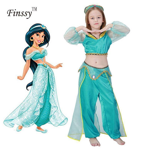 Girls Aladdin'S Lamp Jasmine Princess Costumes Cosplay For Children Halloween Party Belly Dance Dress Indian Princess Costume - SpiritCos