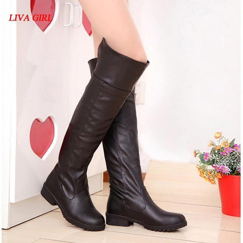 Women Attack On Titan Cosplay Long Boots Shingeki No Kyojin Over-The-Knee Boots Eren Jaeger Ackerman Shoes - SpiritCos