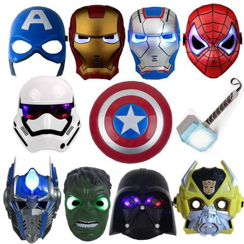 Led Mask Super Hero Hulk/American Captain/Iron Man/Spiderman/Batman Crazy Rubber Party Halloween Costume Mask Children &Adult - SpiritCos