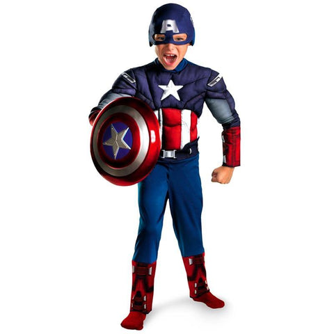Boys Avengers Captain America Muscle Cosplay Fancy Halloween Party Costumes - SpiritCos