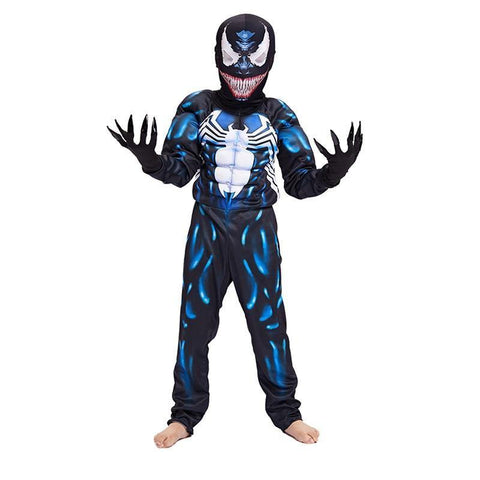 Black Spiderman Boys Muscle Venom Cosplay Superhero Halloween Costume For Children - SpiritCos
