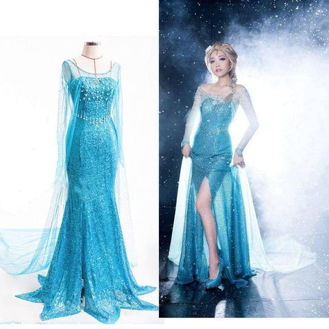Women Adult Frozen Elsa Anime Dress Cosplay Performance Clothing - SpiritCos