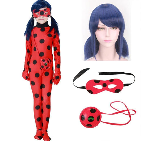 Fantasia Kids Adult Lady Bug Costumes Girls Women Child Spandex Ladybug Costume Jumpsuit Fancy Halloween Cosplay Marinette Wig - SpiritCos