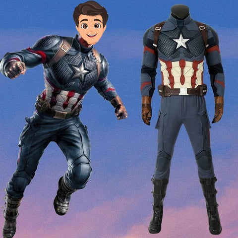 The Avengers 4 Endgame Captain America Costume Steven Rogers Cosplay Quantum Realm Halloween Cosplay - SpiritCos