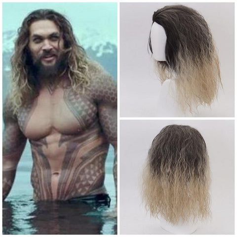 Justice League Aqua Man Curly Aquaman Poseidon Hair Comic Wigs Cosplay - SpiritCos