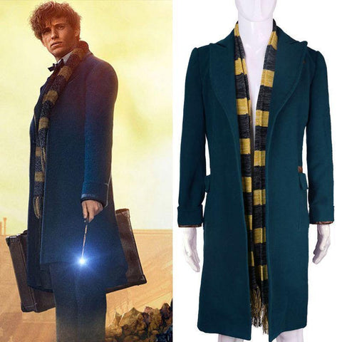 Fantastic Beasts And Where To Find Them Newt Scamander Cosplay Trench Wool Coat & Scarf - SpiritCos