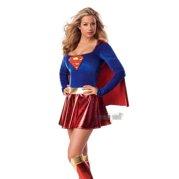 Sexy Slim Superwoman Halloween Cosplay Costume Wonder Woman Costume Long Sleeve Dress with Shawl + Boot Cover Adult Uniforms - SpiritCos