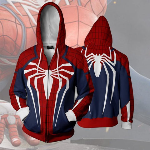 Spider Man Ps4 Zip Up Hoodie - SpiritCos