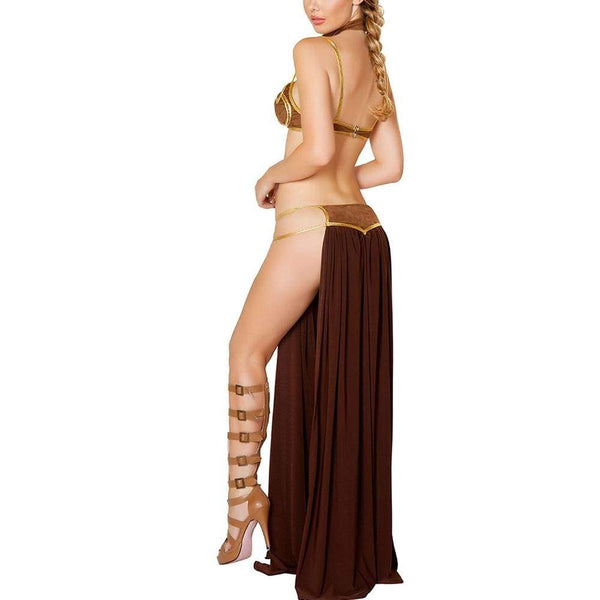 Star Wars Cosplay Costume Princess Leia Slave Dress Gold Bra and Neckchain - SpiritCos