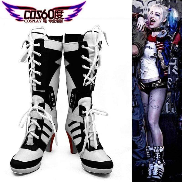 Suicide Squad Harley Quinn Custom Made Cosplay Boots/Shoes - SpiritCos