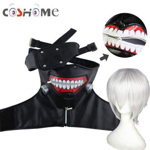 Tokyo Ghoul Kaneki Ken Cosplay Costume Wigs PU Leather Adjustable Zipper Mask+Blinder For Hallowenn Party - SpiritCos