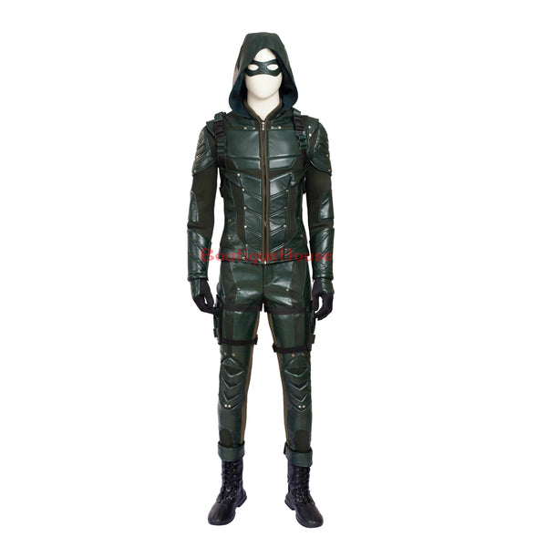 Top Quality Original Green Arrow Season 5 Oliver Queen Cosplay Costume Customize Full Suit  Any Size - SpiritCos