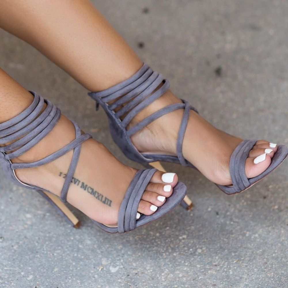 Lace Up Velvet Gladiator Sandals