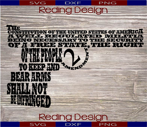 2nd Amendment Gun Digital Cut File SVG PNG DXF