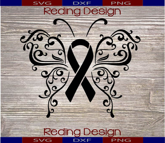 Butterlfy Awareness Ribbon  Digital Cut File SVG PNG DXF