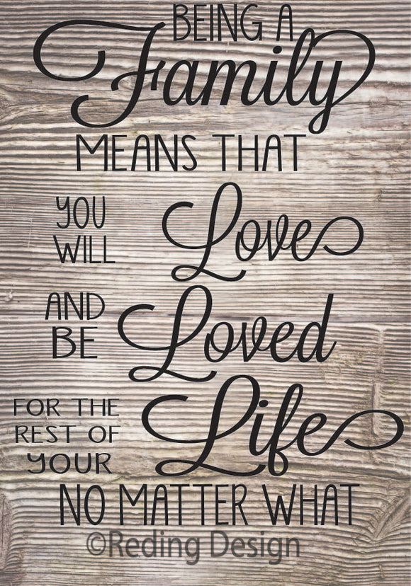 Being a Family SVG DXF PNG Digital Cut Files