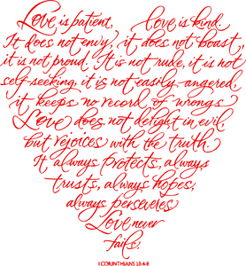 Love Is Patient Corinthians 13 Heart Digital Cut Files SVG DXF PNG
