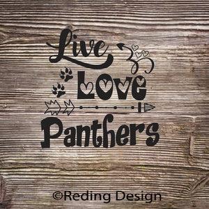 Panthers Live Love Digital Cut Files SVG DXF PNG
