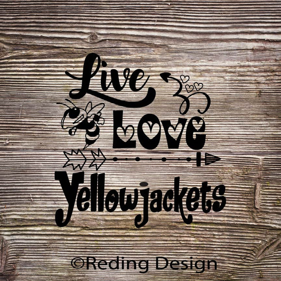 Yellow Jackets Live Love Digital Cut Files SVG DXF PNG