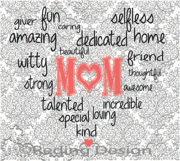 Mom Word Heart Digital Cut Files SVG DXF PNG