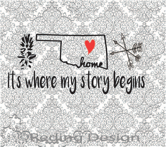 Story Begins in Oklahoma SVG DXF PNG Digital Cut Files