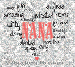 Nana Word Heart Digital Cut Files SVG DXF PNG