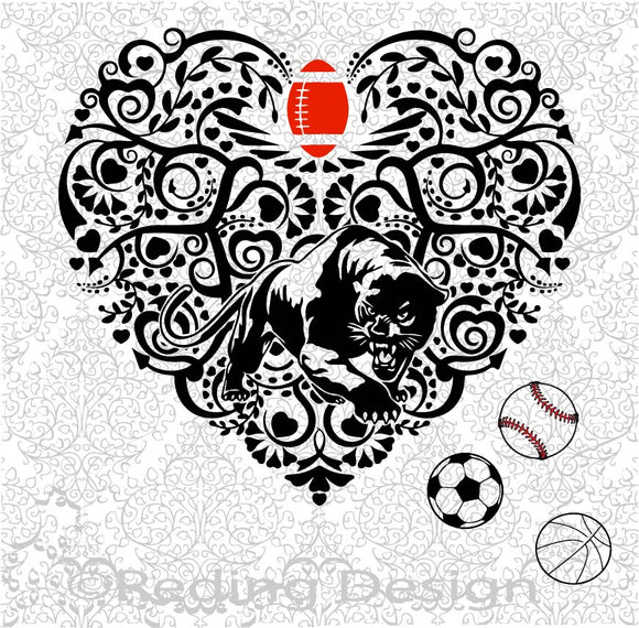 Panther Sport Heart Digital Cut File SVG PNG DXF