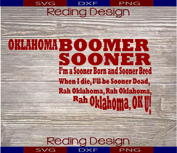 Sooner Born Digital Cut File SVG PNG DXF