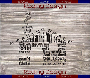 House Built on Amazing Grace Digital Cut Files SVG PNG DXF