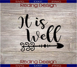 It Is Well Digital Cut Files SVG DXF PNG
