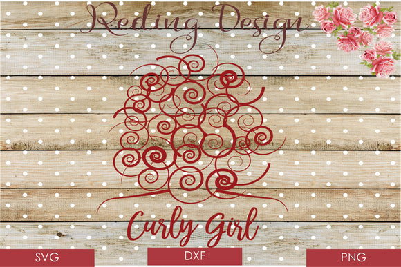 Curly Girl Digital Cut File SVG PNG DXF