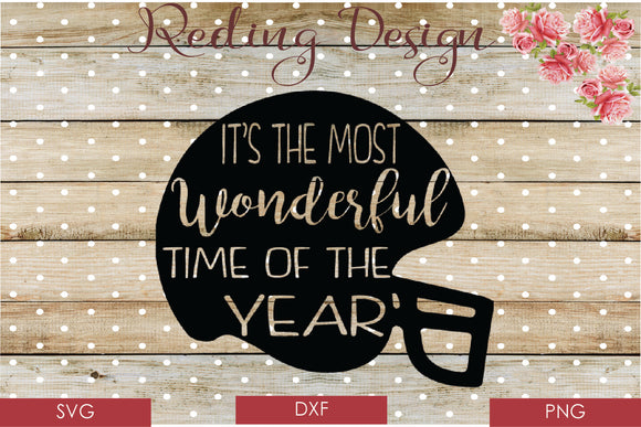 Most Wonderful Time of the Year Football Digital Cut File SVG PNG DXF