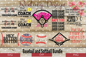Baseball Bundle Digital Cut File SVG PNG DXF