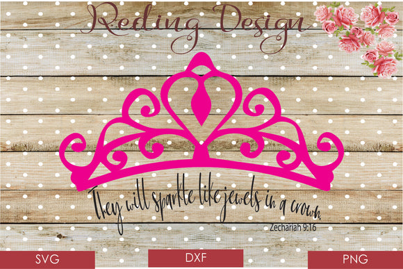 Jewels in a Crown Digital Cut File SVG PNG DXF