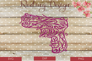 Gun Decorative SVG PNG DXF Digital Cut File