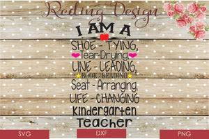 Teacher Kindergarten SVG PNG DXF Digital Cut File
