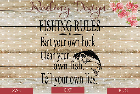 Fishing Rules Digital Cut File SVG PNG DXF