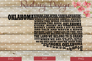 Oklahoma State Song Digital Cut File SVG PNG DXF