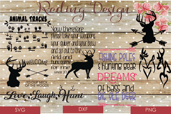 Bundle Hunting Digital Cut File SVG PNG DXF