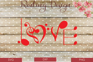 Love Music Digital Cut File SVG PNG DXF