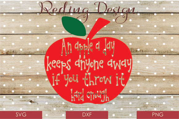 Apple a Day Digital Cut File SVG PNG DXF
